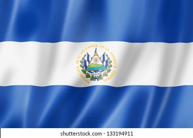 El Salvador flag, three dimensional render, satin texture