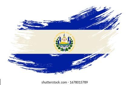 El Salvadoran flag brush stroke grunge background. Raster version.