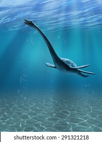 The Elasmosaurus was an aquatic dinosaur that lived during the Cretaceous period - 3d render.