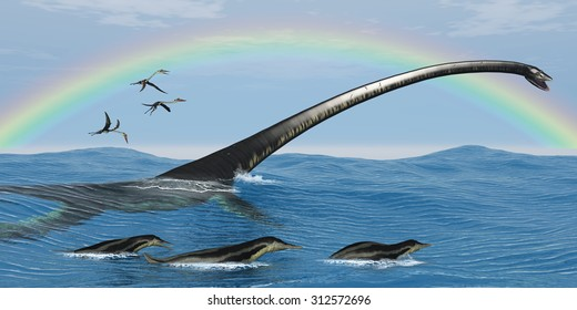 Elasmosaurus Marine Reptile - Elasmosaurus tries to capture one of the Dolichorhynchps reptiles as Quetzalcoatlus birds look for fish.