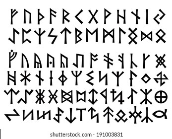 Elder Futhark (24 letters above) and Other Runes (below). Runic script was used all over Northern Europe till the XIII century.