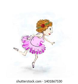 elderly ballerina in pink dress