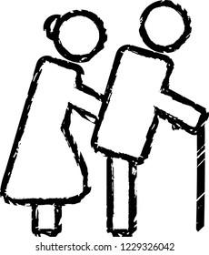 Elderly couple with cane.