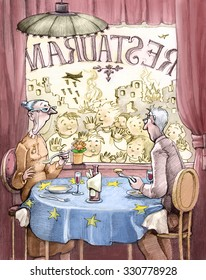 An elderly couple European dinner at the restaurant, from the window you see houses bombed and children as ghosts