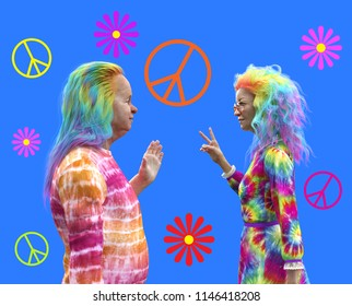 An elderly couple having fun with colorful hair and clothes - 3d render.
