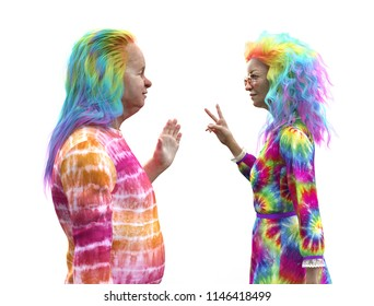 An elderly couple with having fun with colorful hair and clothes - 3d render.