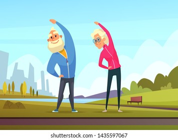 Elderly couples make some sport exercises in the public garden. Senior sport grandfather and grandmother in park illustration