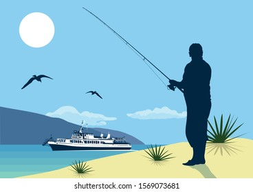 An elderly fisherman on the shore with a spinning rod. Fishing at sea. Mountains, seagulls, ship.