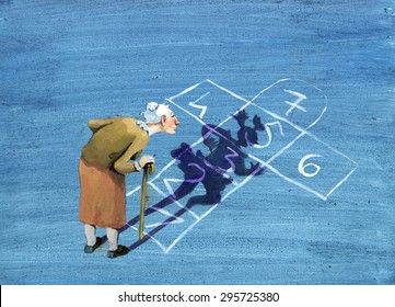 an elderly lady watching the game designed on the road, sees his shadow become a girl who jumps in the game concerpt of memory and life humorous painting