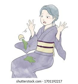 着物を着た年配の女性がお茶をこぼした。