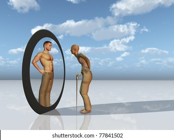 elderly man sees past self in mirror