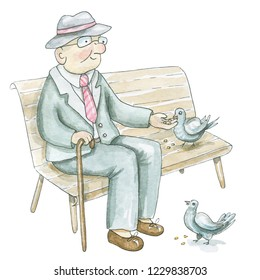 An elderly man sits on a bench and feeds pigeons isolated on white background. Watercolor hand drawn illustration
