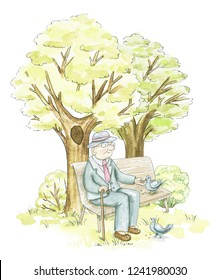 An elderly man sits on a bench and feeds pigeons in the park isolated on white background. Watercolor hand drawn illustration