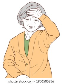 高熱に苦しむ高齢者。