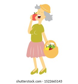Elderly woman eating. She are eating apple. Smiling good dental health. Healthy food concept and the elderly. grandmother. illustration isolated white background. Rasterized Copy