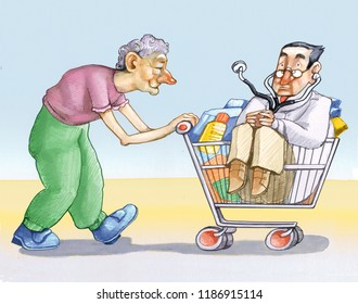 elderly woman pushes schopping cart with inside medicines nappers and a doctor humor draw healthcare in occidental society