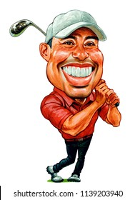 Eldrick Tont Woods better known as Tiger Woods, is an American professional golfer who is among the most successful golfers of all time. Illustration,Caricature,Design,July,21,2018