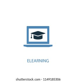 eLearning concept 2 colored icon. Simple blue element illustration. eLearning concept symbol design from eLearning set. Can be used for web and mobile UI/UX