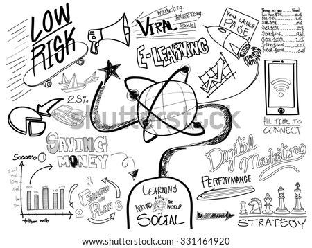 elearning education sketch drawing doodle concept stock illustration