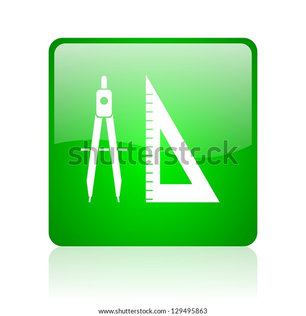e-learning green square web icon on white background