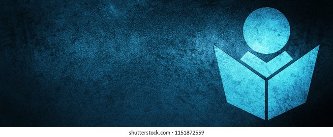 Elearning icon isolated on special blue banner background abstract illustration