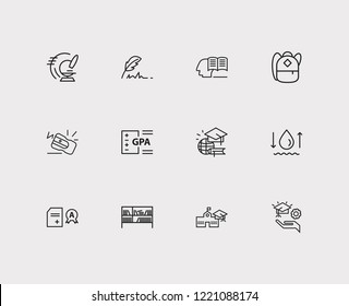Elearning icons set. Hydrology and elearning icons with global education, pencil sharpener and gpa. Set of zoom for web app logo UI design.