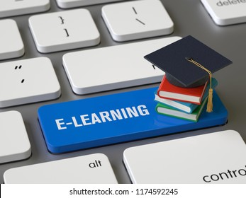 e-learning key on the keyboard, 3d rendering,conceptual image.