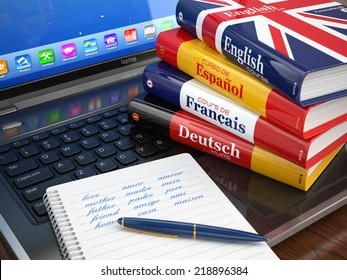 E-learning. Learning languages online. Dictionaries  on laptop. 3d