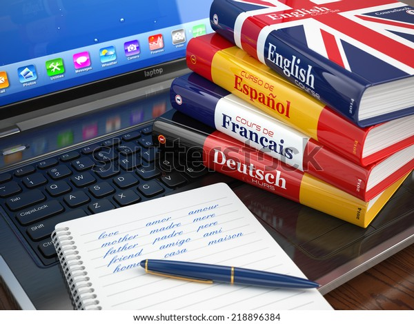 E-learning. Aprender línguas online. Dicionários no laptop. 3d