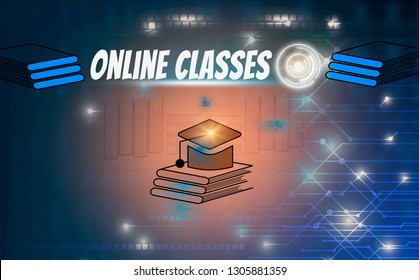 E-learning and online education, with icons social media on black  background, illustration  creative design, concept learn and knowledge of future with AI(artificial intelligence)