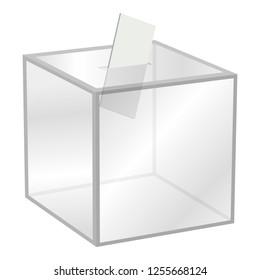 Election box mockup. Realistic illustration of election box mockup for web design isolated on white background
