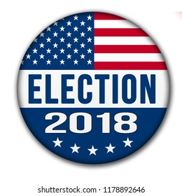 Election button for the 2018 with the USA flag and drop shadow. Image is with a clipping path of the button.