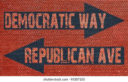 Election choice conceptual post with democratic way and republican ave on brick wall