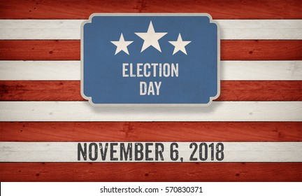 Election Day November 6, 2018 with US American flag concept background