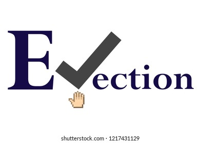 Election illustration with voting sign.