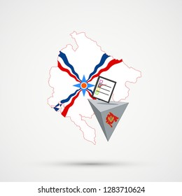 Election or referendum in Montenegro. Ballot box and casting vote on white background. Montenegro map in Assyria flags in background.