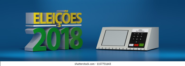 Elections Brazil 2018, urn electronics. 3d illustration
