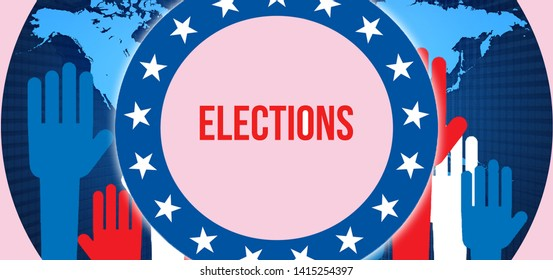 elections election on a World background, 3D rendering. World country map as political background concept. Voting, Freedom Democracy, elections concept. elections and Presidential election banner