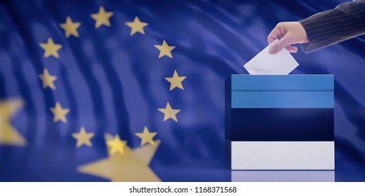 Elections in Estonia for EU parliament. Hand inserting an envelope in a Estonian flag ballot box on European Union flag background. 3d illustration
