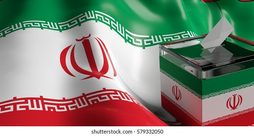 Elections in Iran. Ballot voting box on Iran flag background. 3d illustration