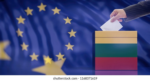 Elections in Lithuania for EU parliament. Hand inserting an envelope in a Lithuanian flag ballot box on European Union flag background. 3d illustration