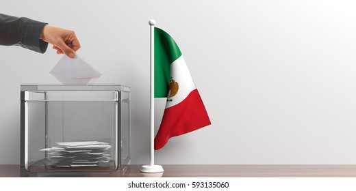 Elections in Mexico. Voter putting an envelope in a ballot box by a small Mexico flag. 3d illustration