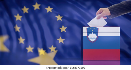 Elections in Slovenia for EU parliament. Hand inserting an envelope in a Slovenian flag ballot box on European Union flag background. 3d illustration