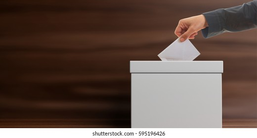 Elections. Voter and a blank white ballot box on wooden background. Front view, space for text. 3d illustration