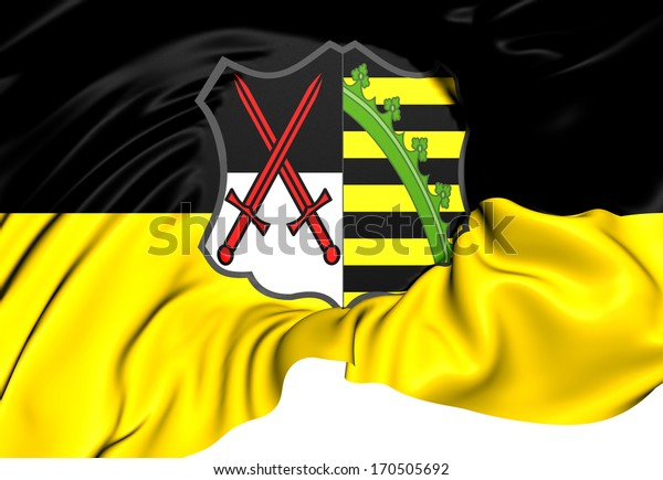 Electorate of Saxony Flag (1356-1806). Close Up.