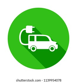 Electra car green icon in Badge style with shadow  on white background