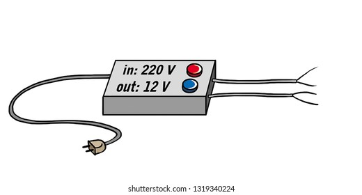 The electric adapter turns 220 volts into 12 volts.