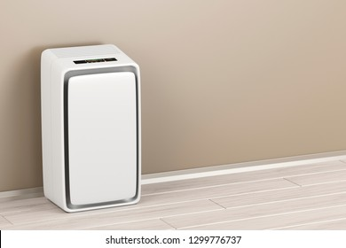 Electric air purifier in the room, 3D illustration
