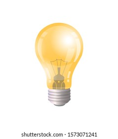 Electric bulb symbol of new business idea and solutions isolated icon raster. Shining lamp illuminating shine. Thinking and brainstorming glow sign