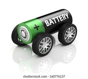 electric car 3d concept - battery on wheels
